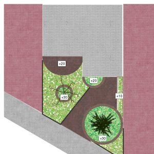tuinontwerp schets grasveld bestrating borders